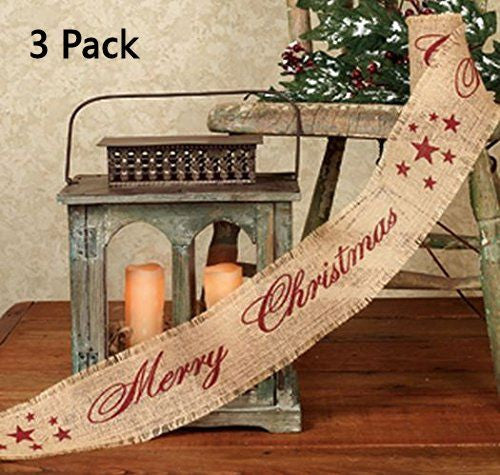 Vintage Merry Christmas Star Burlap Ribbon - 10-ft (Burgundy Print) Multi-Packs - Mellow Monkey  - 2