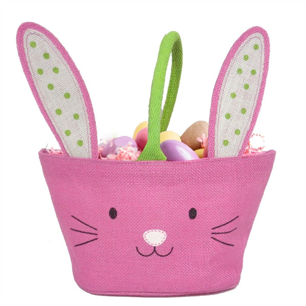 Easter Bunny Kisses Jute Treat Bag with Floppy Ears and Pom Pom Tail - Pink