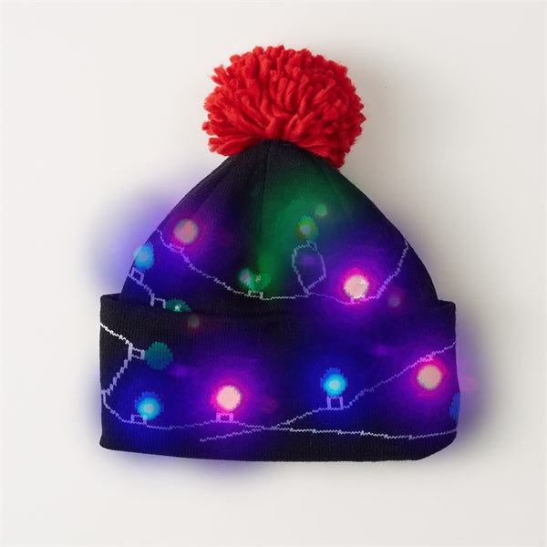 Decked Out LED Christmas Light Knit Hat with Pom Pom
