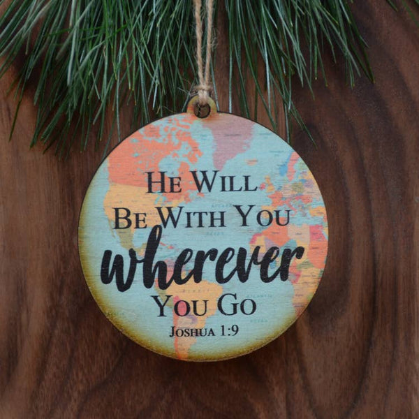 Joshua 1:9 - World Map Ornament