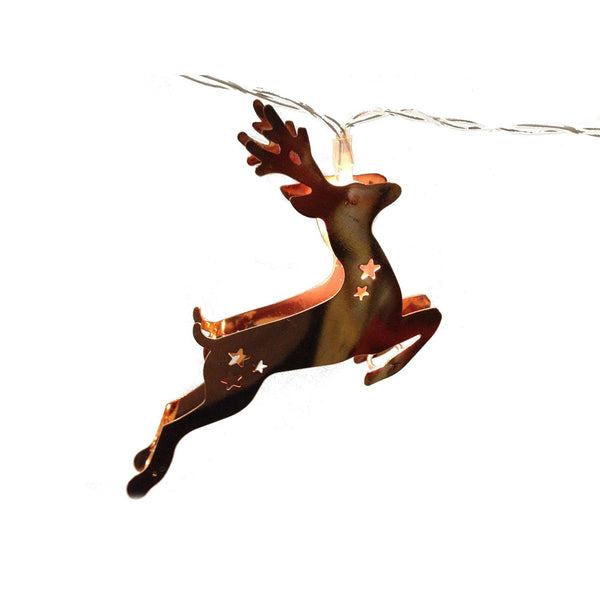 Copper Electroplated LED Lighted Chain - Deer Shape String Lights 63-in - Mellow Monkey  - 1