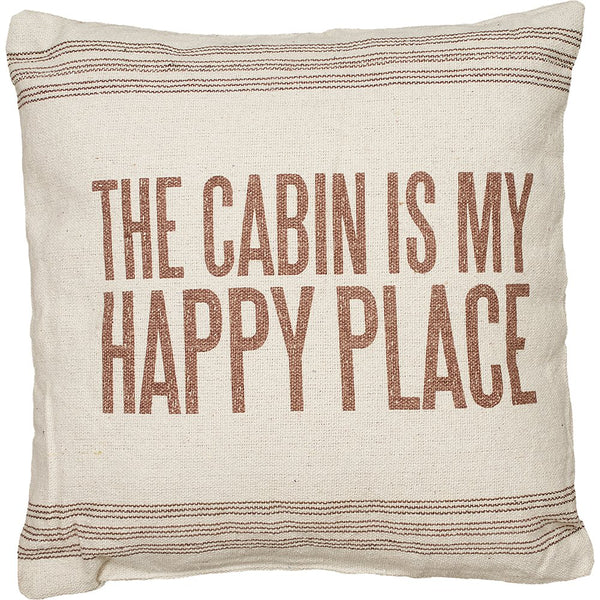 The Cabin Is My Happy Place Pillow - 15-in