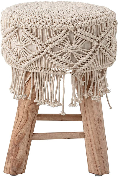 Macrame and Mango Wood Stool - Natural - 16-in