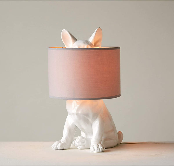 White Resin Dog Table Lamp with Linen Shade - 17-1/2-in