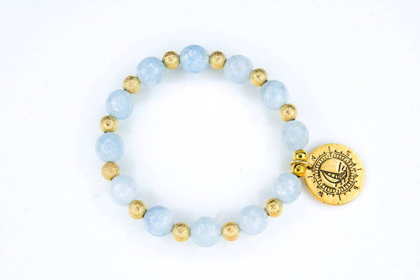 Gold Compass Light Blue Aquamarine - Bracelet