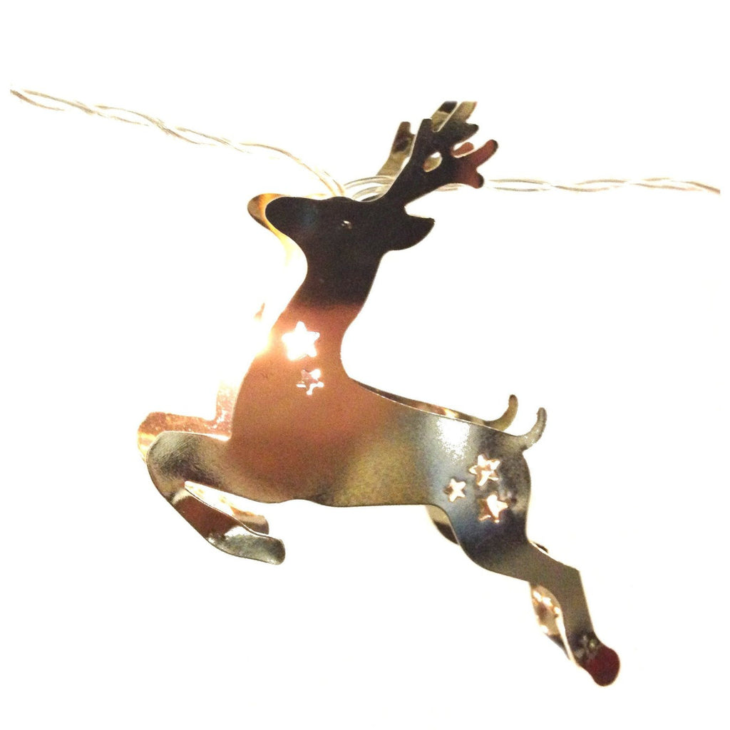 Silver Electroplated LED Lighted Chain - Deer Shape String Lights 63-in - Mellow Monkey  - 1