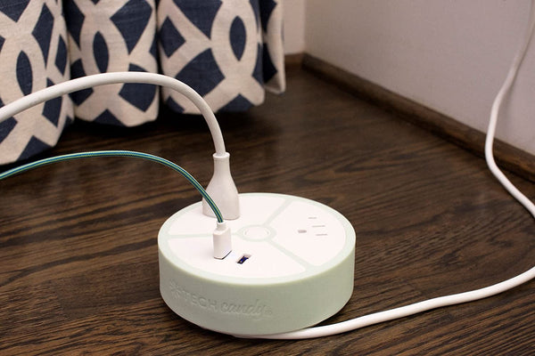 Tech Candy Power House Charging Station - 2 USB Ports, 2 Outlet Plugs - Smart Technology Power Strip Surge Protector