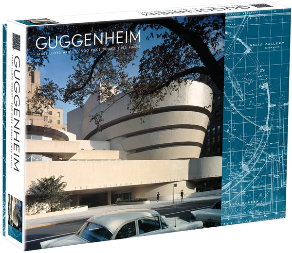 "Galison Frank Lloyd Wright Guggenheim Two-Sided Jigsaw Puzzle - 500 Pieces - 24""x18"" - Guggenheim Museum and Museum Blueprint"
