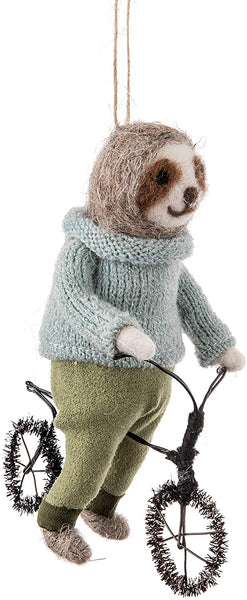 Sloth on Bicycle Wool Ornament - 6-in