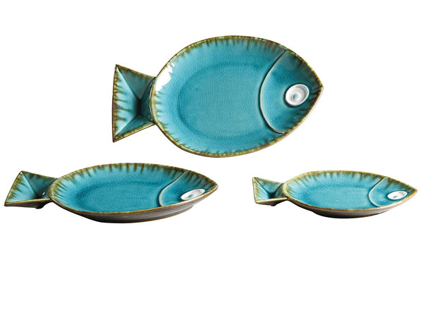 Seabreeze Blue Ceramic Fish Plates - Set of 3