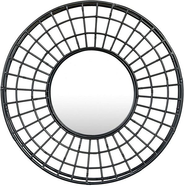 Metal Wall Mirror - Black - 24-in Round