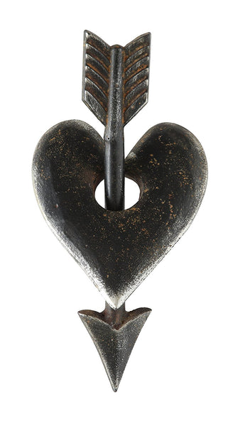 Metal Heart and Arrow Cast Iron Decoration | 10-1/8-in