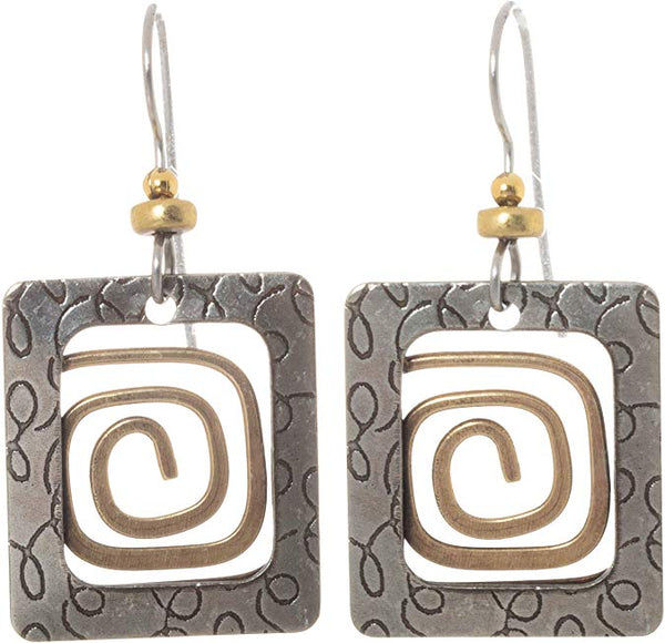 Silver Forest Rectangular Spiral Wire Design Dangle Earrings
