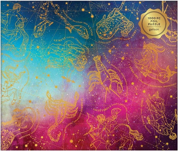 Galison Astrology Jigsaw Puzzle - 1000 Piece - Foil Puzzle with Astrological Star Signs