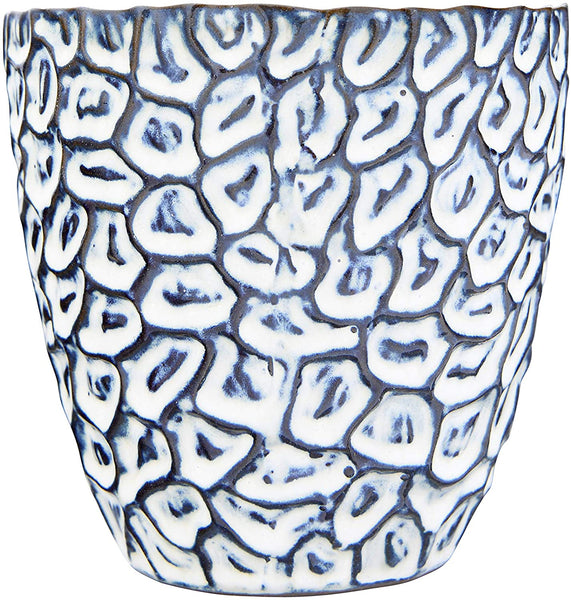Embossed Stoneware Planter with Abstract Pattern and Reactive Glaze Finish-  (Holds 5-in Pot) Navy