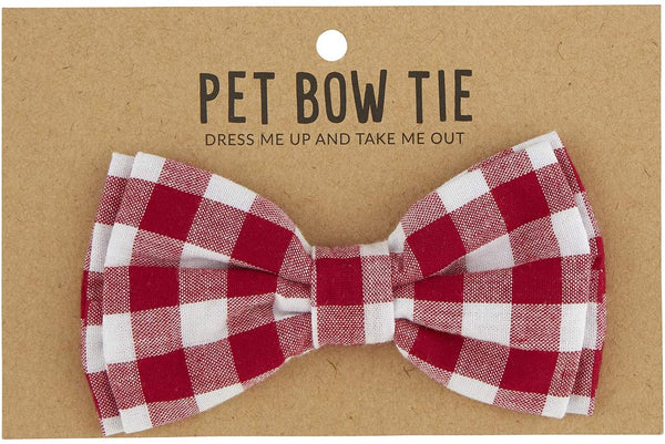 Adjustable Pet Bow Tie - Red Buffalo Check