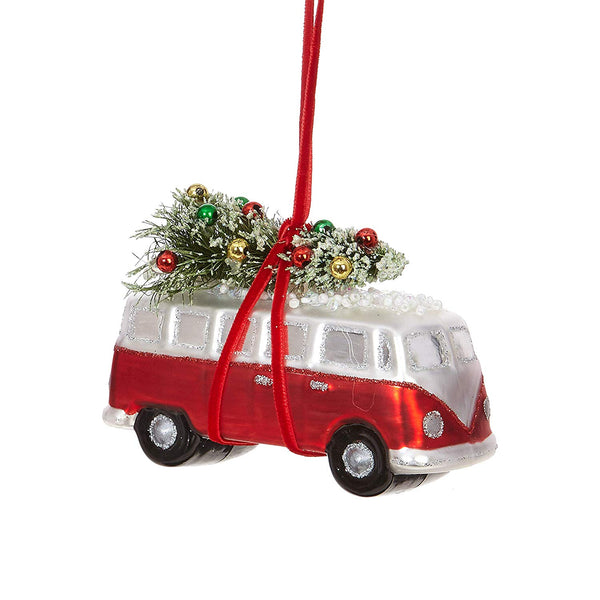 Wagon Camper Glass Ornament with Christmas Tree - 4.5""