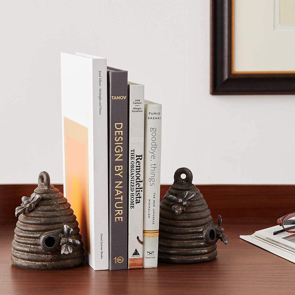 Cast Iron Beehive Bookends - Black - 4-3/4-in