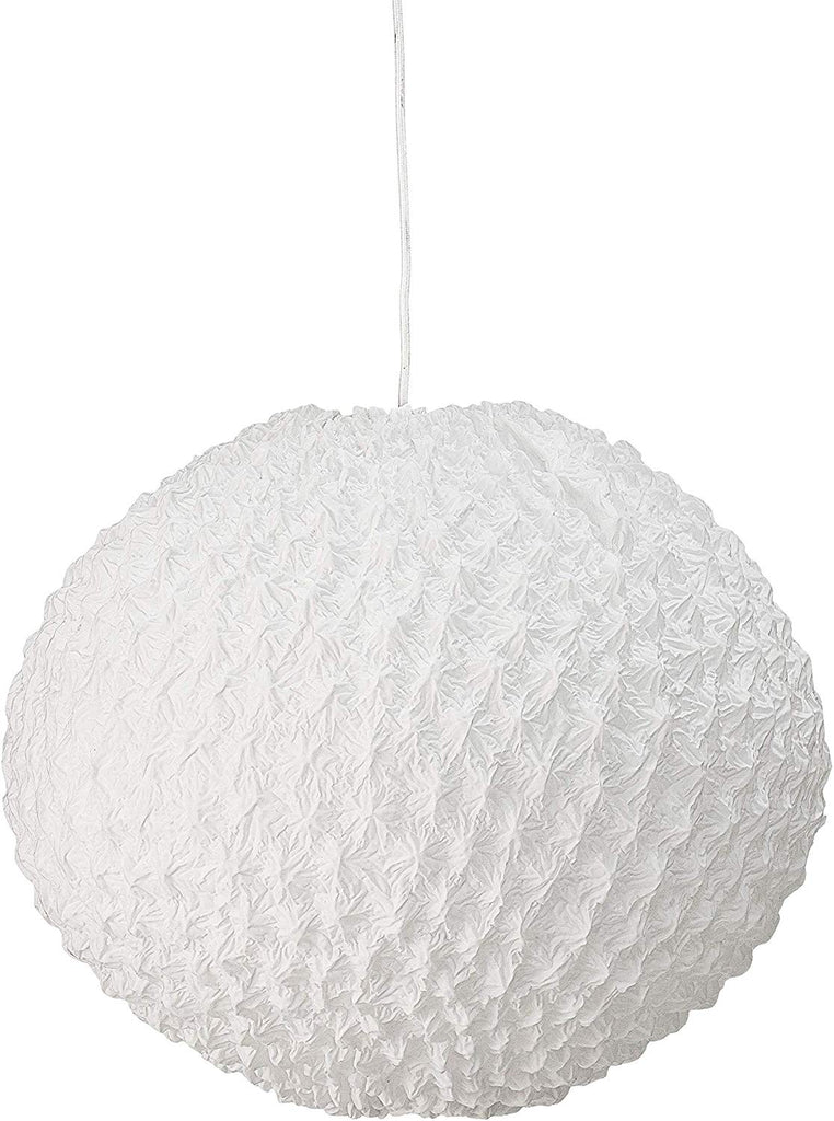 Round Metal Pendant Light with Pleated Cotton Shade - 19-1/2-in