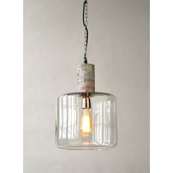 Mango Wood and Glass Hanging Pendant Lamp