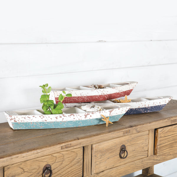Distressed Wooden Shipwrecked Boat Shaped Planter with 5 Compartments  - 25-1/4-in