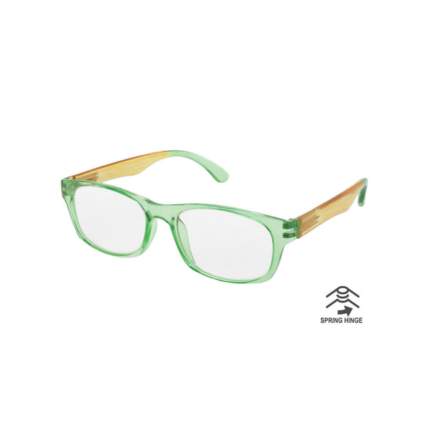 Island Inspired Reading Glasses - Unisex - With Woven Carry Case - Green/Orange/Green