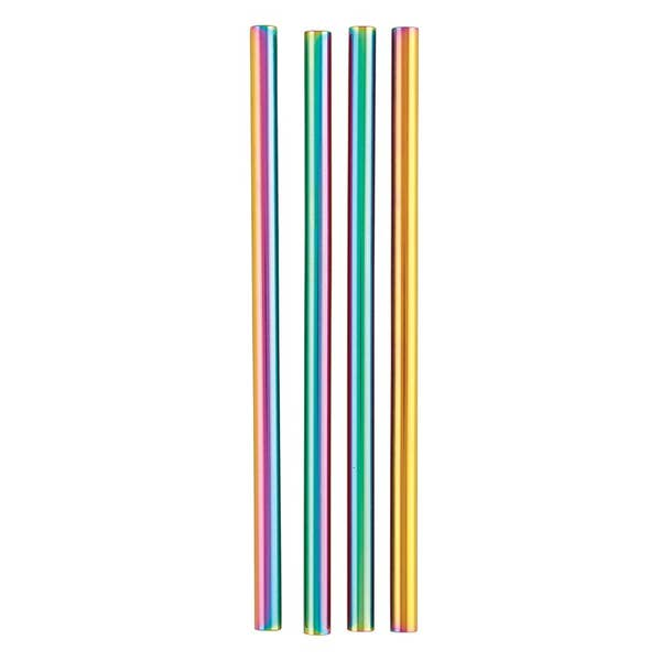 Sip and Stir Reusable Stainless Steel Cocktail Straws - Iridescent - 4 Pack