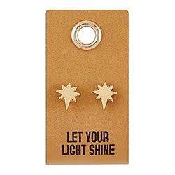 Leather Tag Gold Stud Earrings - Starburst