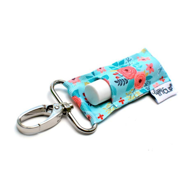 Aqua with Coral Floral LippyClip Lip Balm Holder
