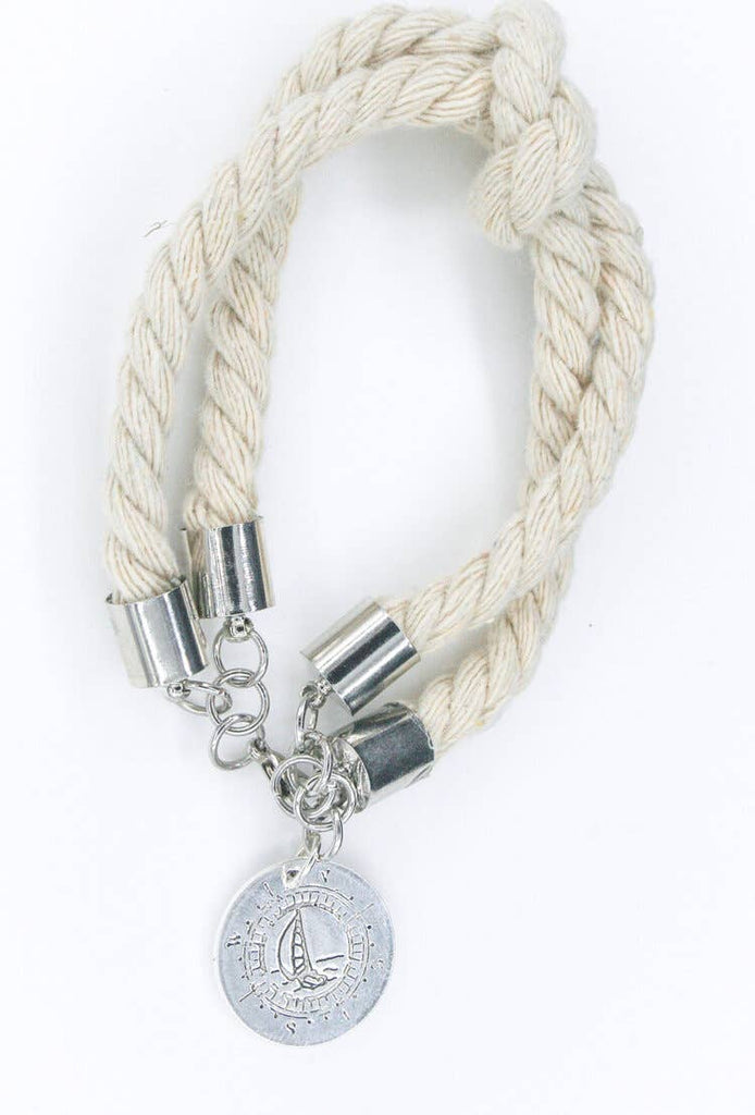 Silver Compass Double Rope Bracelet