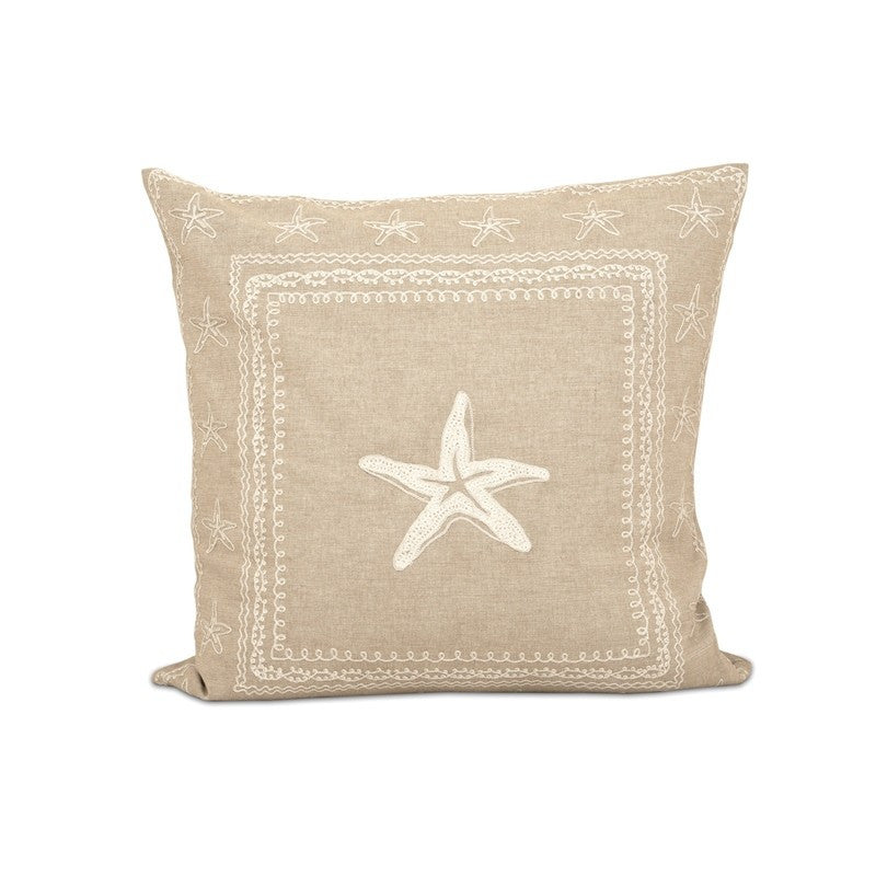 Marian Starfish Cotton Pillow in Sand and Crema - 20-in x 20-in - Feather Filled - Mellow Monkey