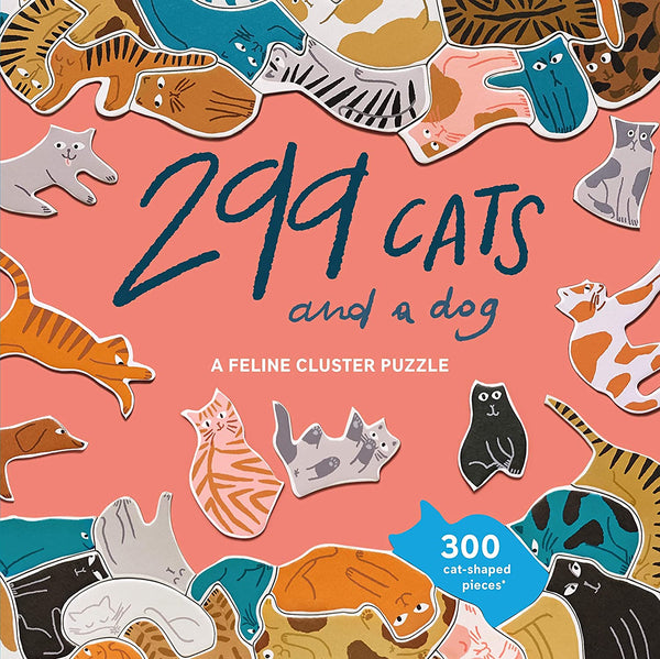 299 Cats (and a Dog): A Feline Cluster Puzzle - 300 Piece Puzzle - Cat-Shaped Pieces
