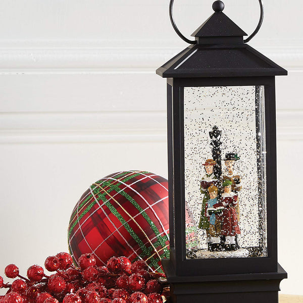 Lighted Snow Globe Holiday Water Lantern With Carolers Singing In The Snow - 11-in