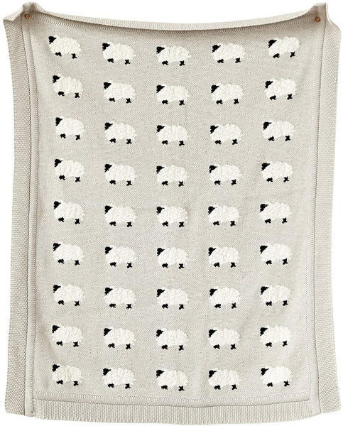 Cotton Knit Baby Blanket - Sheep - 40x32-in - Gray