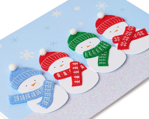 Glitter Snowmen With Knit Scarves and Hat with Pom Pom - Hand Made Boxed Greeting Card - Set of 8