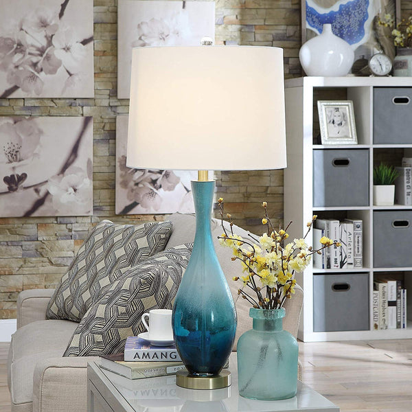 Blue Ombre Glass and Bronze Metal Base Table Lamp - 31-in