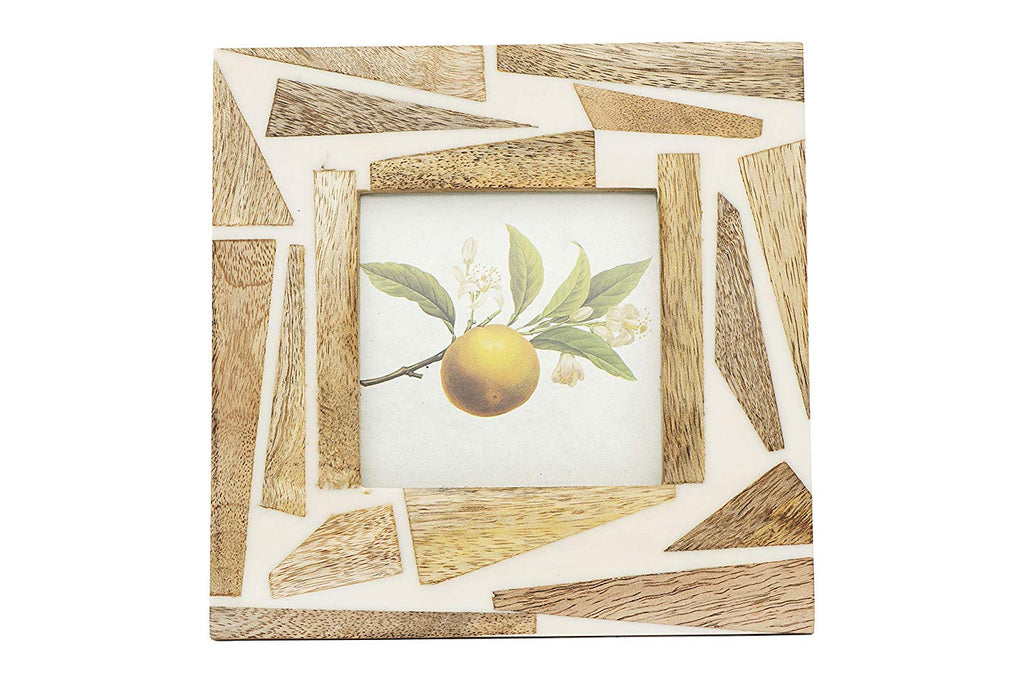 "Square Wood & Resin Photo Frame 7-in (Holds 4"" x 4"" Photo)"