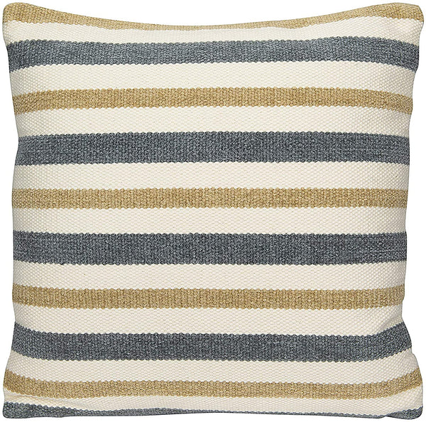 Grey and Sand Striped Square Cotton Woven Pillow - 20-in