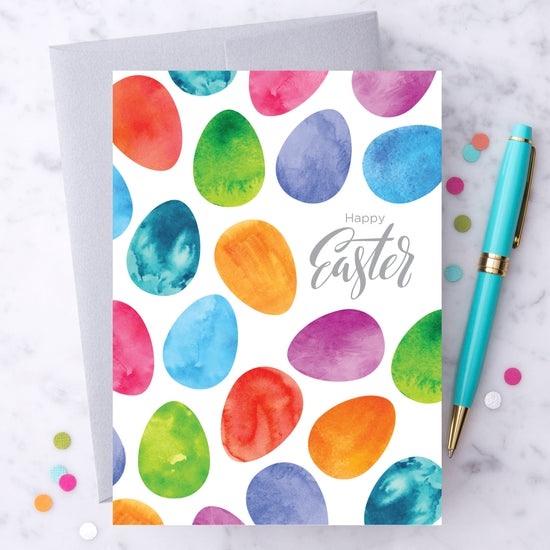 Happy Easter - Easter Eggs Watercolor - Greeting Card