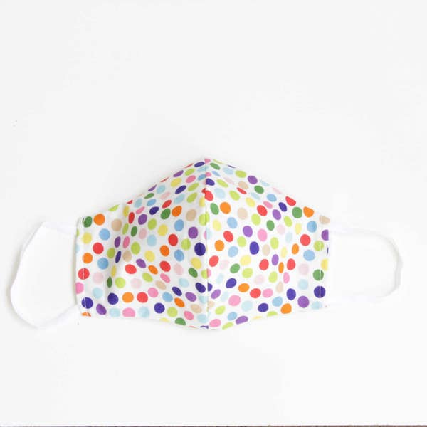 Facemasks LA - Face Mask with Filter - Dots on White Background