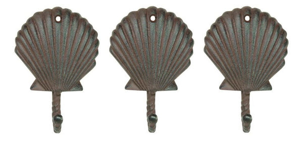 Scallop Shell Wall Hooks Cast Iron Antique Brown - Set of 3 for Coats, Aprons, Hats, Towels, Pot Holders, More - Mellow Monkey  - 2