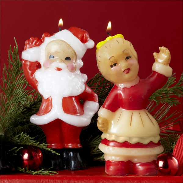 Mr. and Mrs. Santa Claus Retro Candle Set