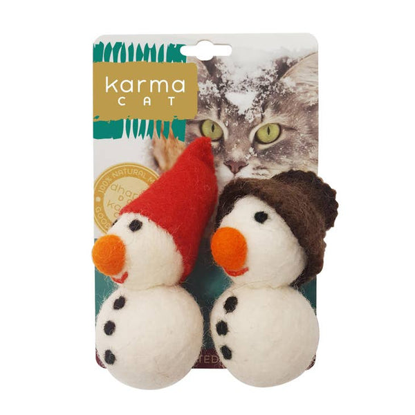 Snowman Wool Cat Toy - Pack of 2
