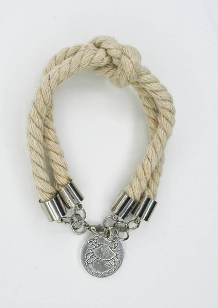 Silver Crab Double Rope Bracelet
