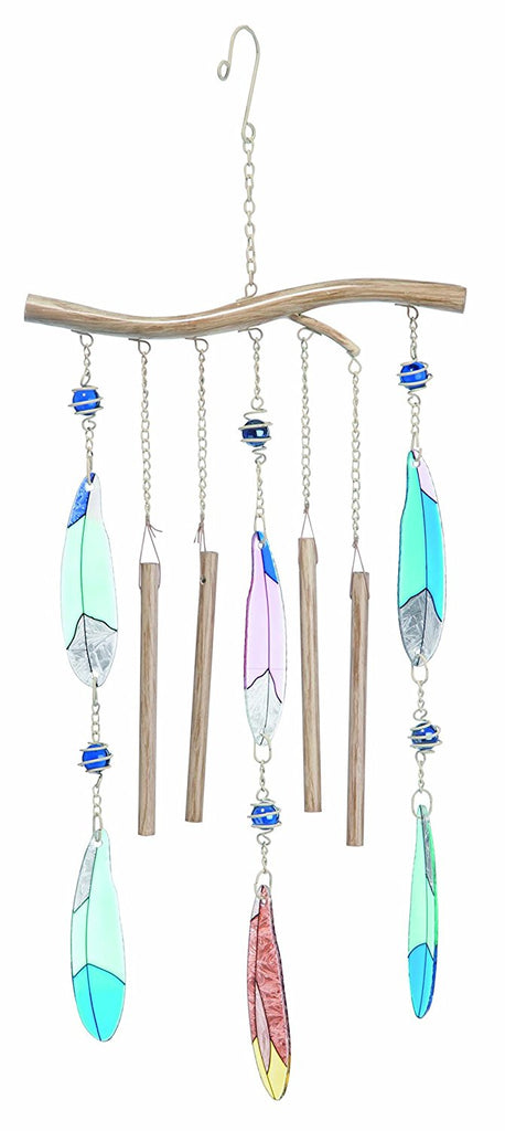 Metal and Glass Feather Window Chime | 25-3/4-in