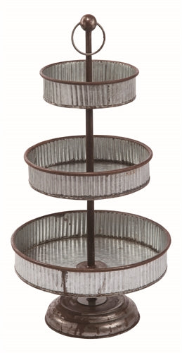 Vintage Metal Three Tiered Standing Tray | 27-in