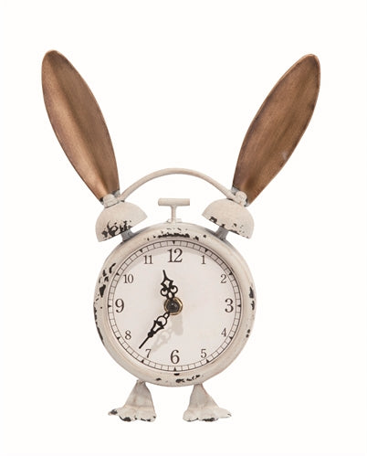 Bunny Clock | Metal with Ears 10-in