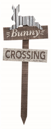 Bunny Crossing | Country Wood and Metal Yard Stake | 25-1/2-in