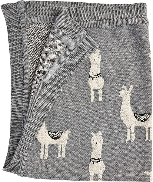 Cotton Knit Baby Blanket - Llama - 40x32-in - Gray