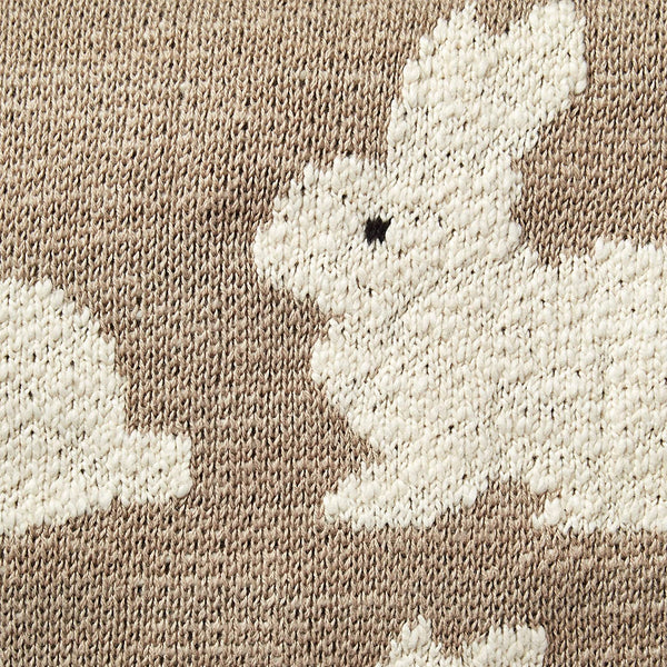 Cotton Knit Baby Blanket - Bunnies - 40x32-in - Taupe